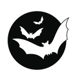 bats fly to moon icon vector image vector image