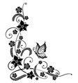 Black flowers with butterfly vector image vector image