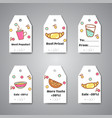 breakfast tags and hanging for cafe bar bakery vector image vector image