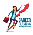 business woman career planning fast career vector image vector image