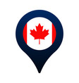 canada flag and map pointer icon national flag vector image