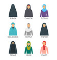 cartoon hijab type signs color icons set vector image