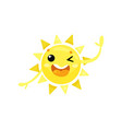 cartoon icon of friendly yellow sun winking eye vector image