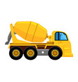 cement mixer truck work yellow vehicle concrete vector image