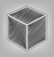 cube sign pencil sketch vector image vector image