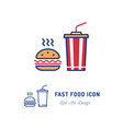 fast food icon hamburger and a glass cocktail vector image vector image
