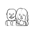 figure nice couple with hairstyle design vector image vector image