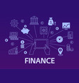 finance poster with outline icons set vector image