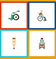 flat icon cripple set of stand handicapped man vector image vector image