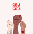 girls support girls woman arm divercity equality vector image vector image