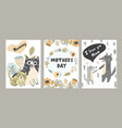 i love mom cards set with cute animals vector image vector image
