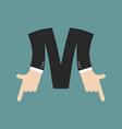 m letter businessman hand font it shows finger vector image vector image