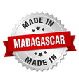 made in Madagascar silver badge with red ribbon vector image vector image