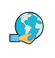 man hand with global earth planet vector image vector image