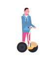 man riding gyroscooter over white background vector image vector image