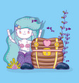 mermaid woman with coffer and plants with fishes vector image vector image