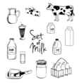 Milk icons set with cow butter cheese isolated vector image