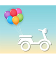 motorcycle with balloons vector image vector image