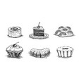 pastries cherry cake vanilla buns muffins roll vector image vector image