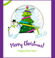 poster merry christmas paper ribbon on christmas vector image vector image