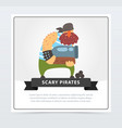 powerful muscular pirate bearded filibuster vector image vector image