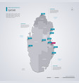 qatar map with infographic elements pointer marks vector image vector image