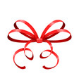 red bow thin tied ribbon vector image vector image