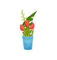 red tulips stand in a blue vase with stripes vector image vector image
