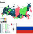 Russian map with named regions vector image vector image