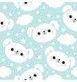 seamless pattern white dog face cloud star in the vector image vector image