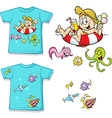 shirt with cute child in swimming circles and fish vector image vector image