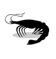 shrimp black silhouette aquatic animal vector image