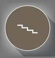 stair down sign white icon on brown vector image vector image