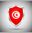 tunisia flag on metal shiny shield collection of vector image