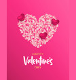 valentines day pink flower petal heart shape card vector image vector image