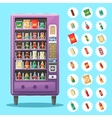 Vending machine with snacks and drinks vector image vector image