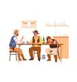 wild western cowboys drinking in bar men in hats