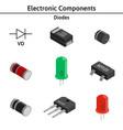 set of izometric electronic components vector image