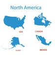 north america - maps of territories vector image