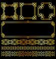 golden asian retro frames and borders set vector image