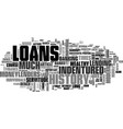a brief history of loans text word cloud concept vector image vector image