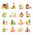 alcoholic cocktails flat icons vector image vector image
