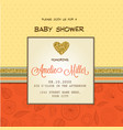 beautiful baby shower card template with golden vector image vector image