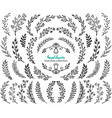 big set hand drawn flowers and branches vector image
