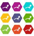 bird icon set color hexahedron vector image vector image