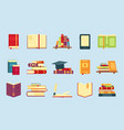 books icon set for education infographic template vector image