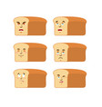 bread emoji emotion set aggressive and good rooty vector image