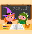 cartoon students in halloween costumes at school vector image vector image
