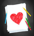 child drawing heart shape vector image vector image