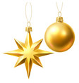 christmas tree golden realistic toys set vector image vector image